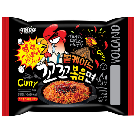 Makaron Volcano Chicken Noodle z curry, szalenie ostry 140g - Paldo